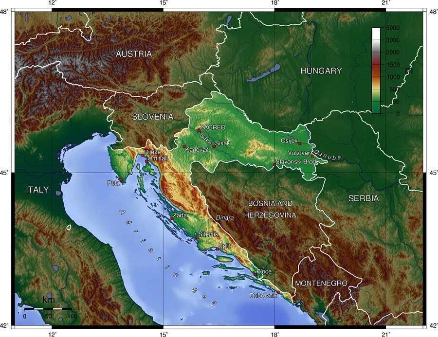 геологическая карта Хорватии